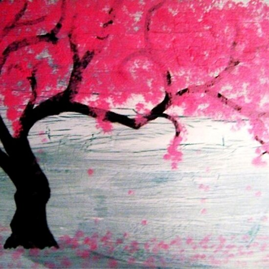 cherry tree drawing in blossom. cherry tree drawing in