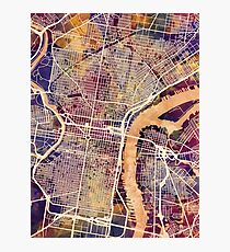 Philadelphia Pennsylvania City Street Map Photographic Print