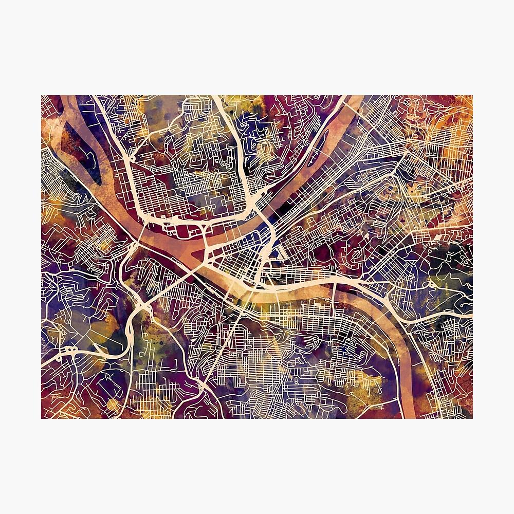 Pittsburgh Pennsylvania Straßenkarte Fotodruck