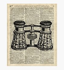 Antique Binoculars Engraving ,Dictionary Page Art  Photographic Print