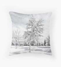 Hugged by snow (BW) Throw Pillow
