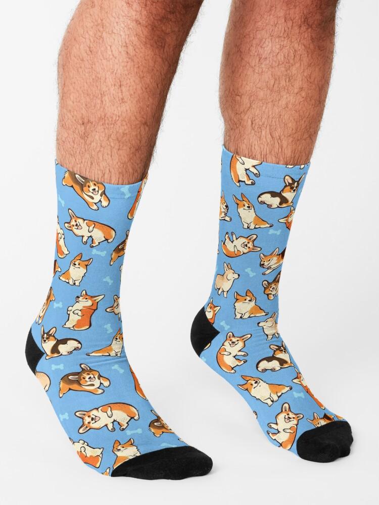 Alternate view of Jolly corgis in blue Socks