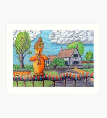 340 - SITTING ON THE FENCE - DAVE EDWARDS - COLOURED PENCILS - 2011 Art Print