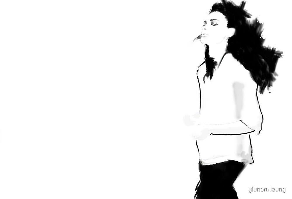 ink and digital fashion illustration by yiunam leung