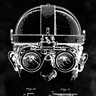 Vintage Steampunk Welding Goggles Blueprint Patent Drawing by Glimmersmith