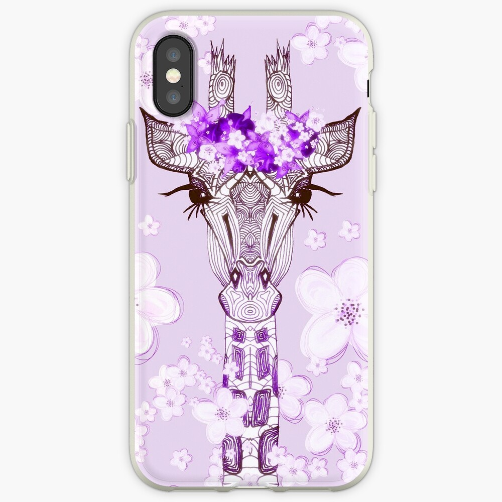 PURPLE FLOWER GIRAFFE GIRL iPhone Case & Cover