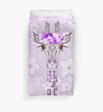 PURPLE FLOWER GIRAFFE GIRL Duvet Cover
