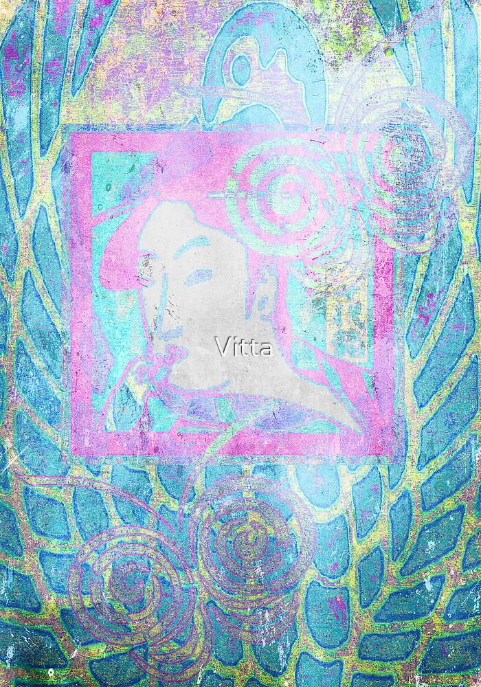 Heron, Woman & Butterflies.. Japanese Series7. by Vitta