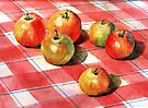 Apples on a check cloth by Ann Mortimer