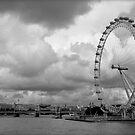 London Eye - Black and White by Dhruba Tamuli