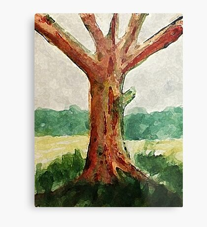 The Tree, with all its age showing, watercolor Metal Print