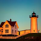 Nubble Lighthouse Warm Light by KellyHeaton