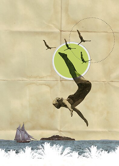 Summer -Fine Art Collage Illustration, Woman in Bathing Suit Jumping Into Sea by stibou
