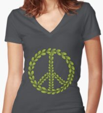 Brown and Green Peace Sign with Leaves Women's Fitted V-Neck T-Shirt