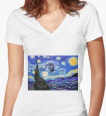 Starry Night Inspiration Doctor Who Tardis Products Women's Fitted V-Neck T-Shirt