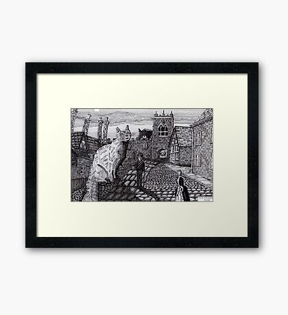 216 - TOBY AND TABATHA IN THE TINY CITY - DAVE EDWARDS - INK - 2008 Framed Print