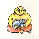 Happy Buddha with blue Cat by Doris Redrupp
