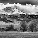 Longs Peak Hangin in Black and White by Bo Insogna
