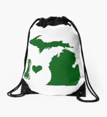 I heart Michigan Drawstring Bag