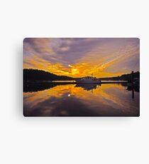 Misty Morning Sunrise Yacht Canvas Print