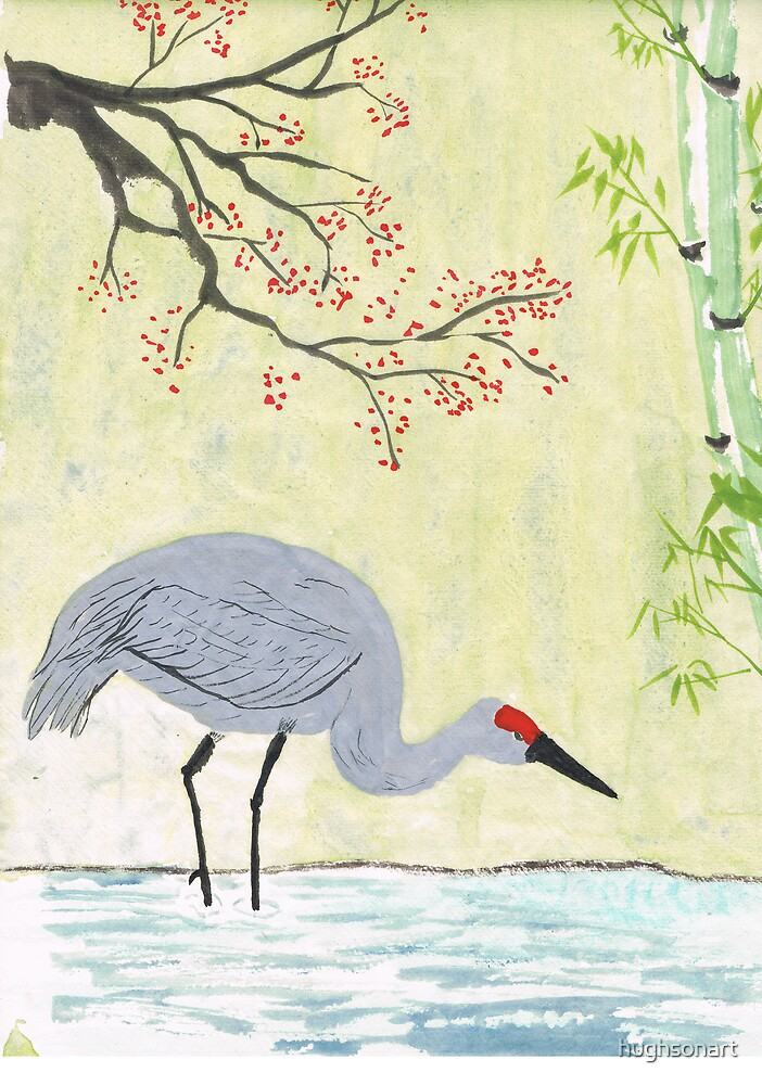 Crane in Pond by hughsonart