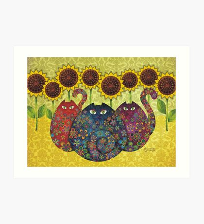 Cats With Sunflowers Art Print