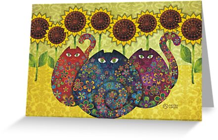 Cats With Sunflowers by sandygrafik