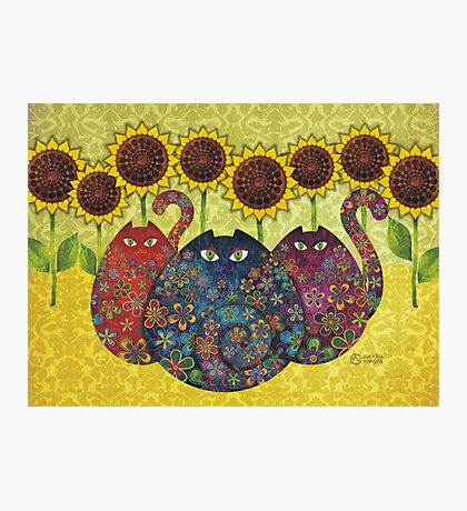 Cats With Sunflowers Photographic Print