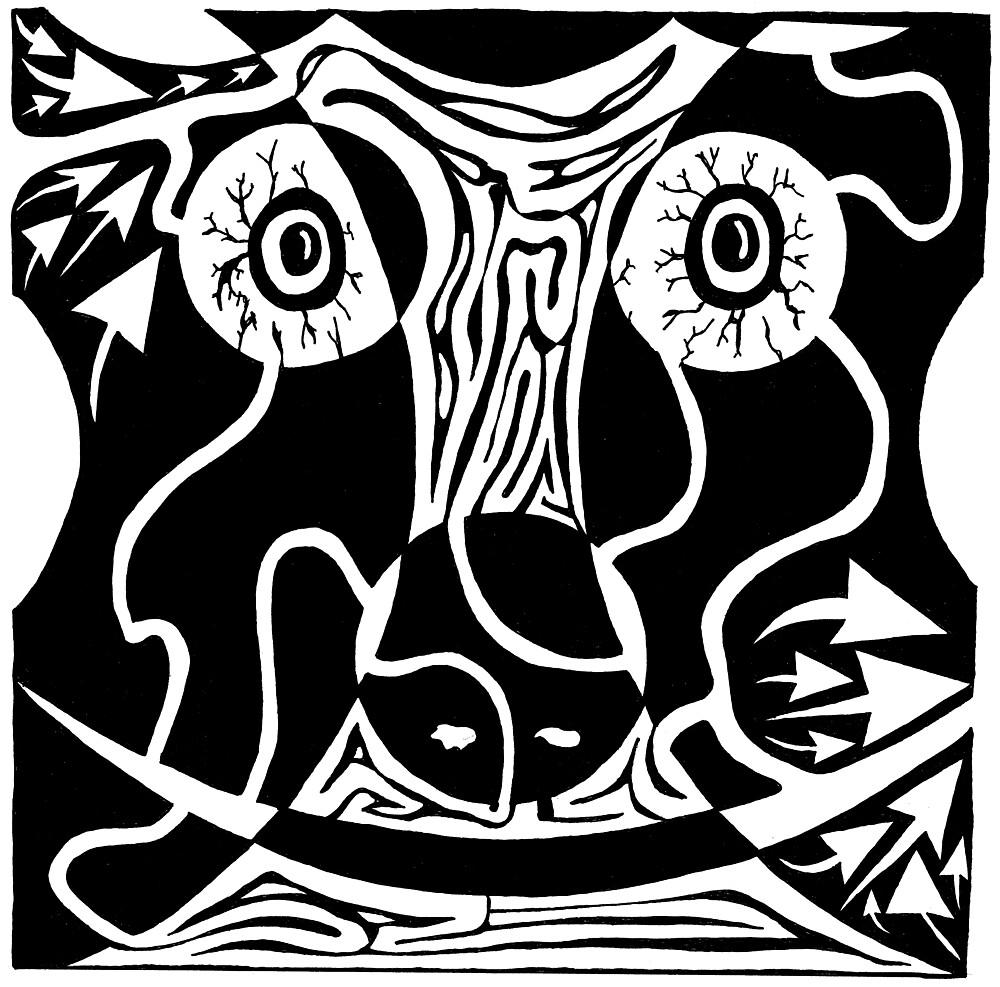 Bull Charging Rorschach by Yonatan Frimer