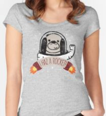 SPACE PUPPY HAZ A ROCKET! Women's Fitted Scoop T-Shirt