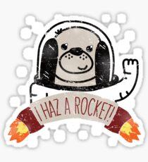 SPACE PUPPY HAZ A ROCKET! Sticker