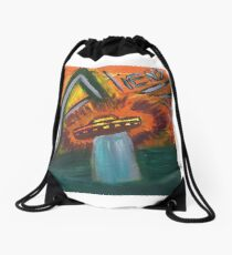 Alien space ship lost in space coming out of water and into oblivion Drawstring Bag