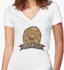 POTATO!!! Women's Fitted V-Neck T-Shirt
