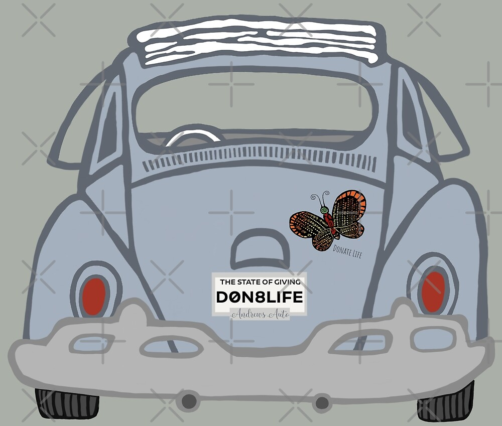 Old Classic Car With Donate Life Plates by D0n8Life