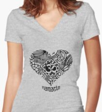 Yoga Heart Namaste Om Women's Fitted V-Neck T-Shirt
