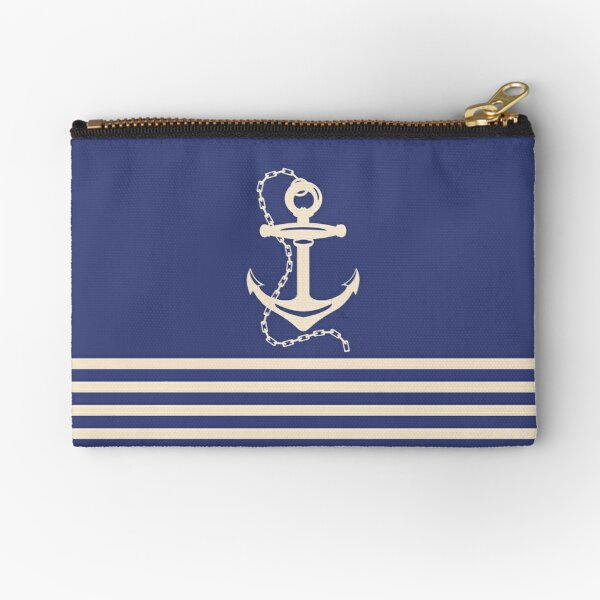 AFE Navy & Beige Anchor and Chain Zipper Pouch