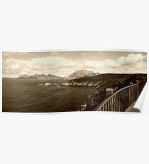A walk on the edge   Freycinet National Park   Tasmania   panorama   sepia Poster