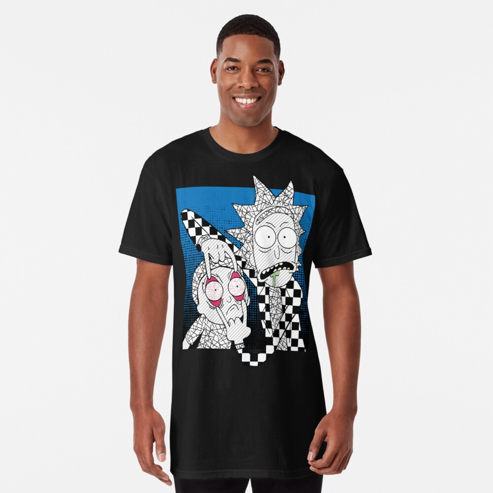 Open Your Eyes - Pretty Cool Retro Abstract Doodle Stripes Chess of Rick and Morty™  Long T-Shirt