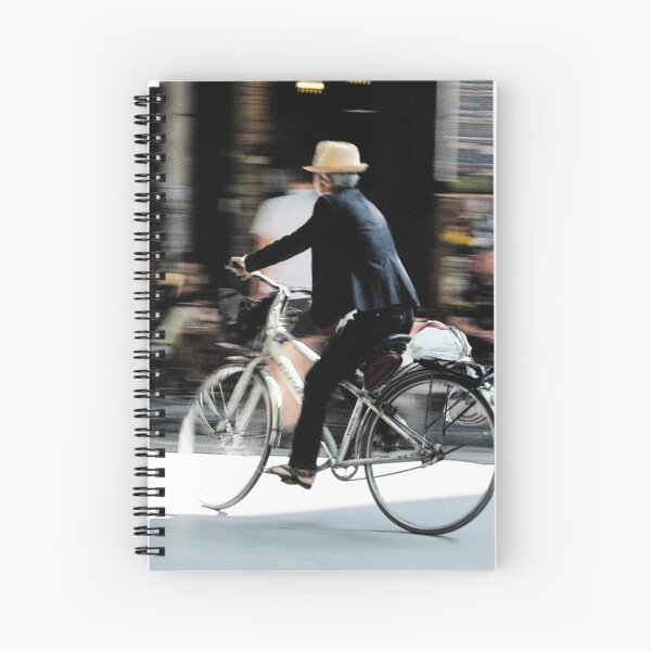 Old man riding a bicycle, Hanoi Spiral Notebook