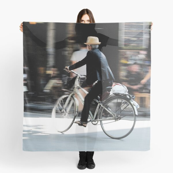 Old man riding a bicycle, Hanoi Scarf