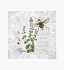 Shabby Chic Thyme herb Bumble Bee vintage illustration art Scarf