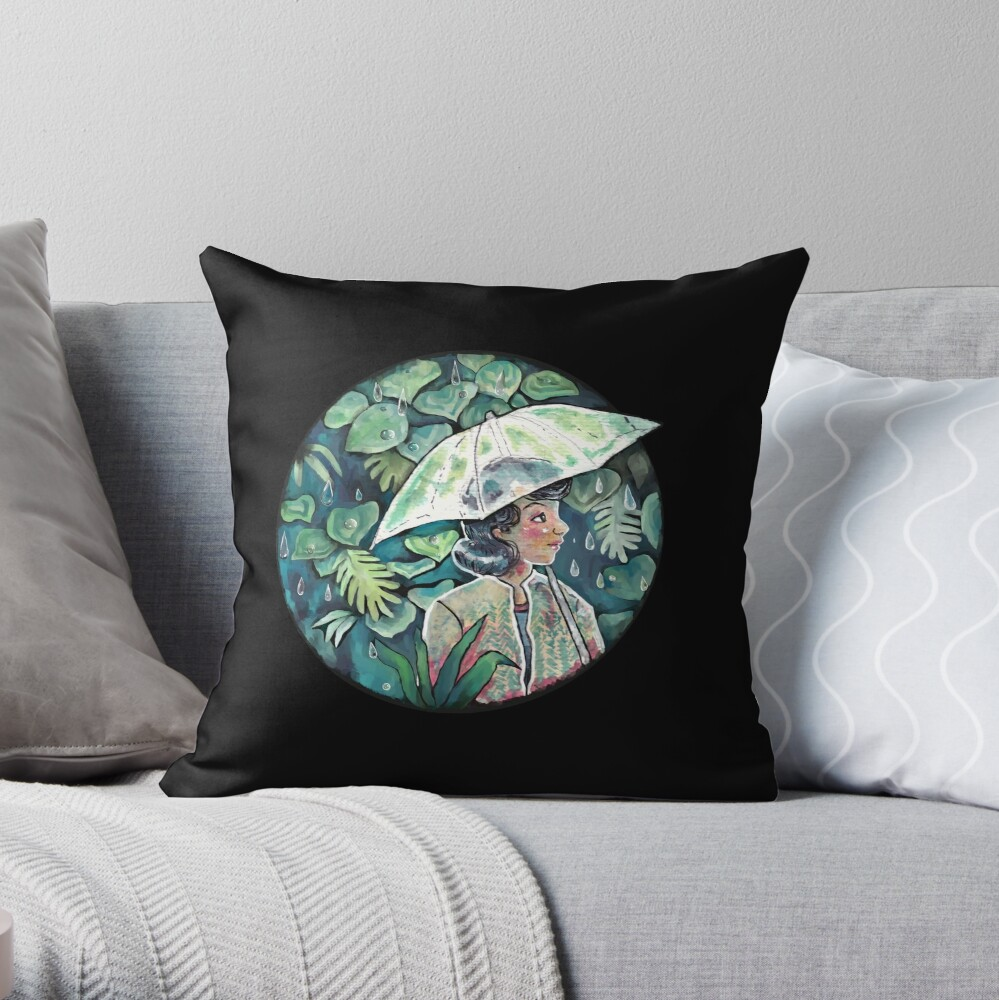 Umbrella girl Throw Pillow