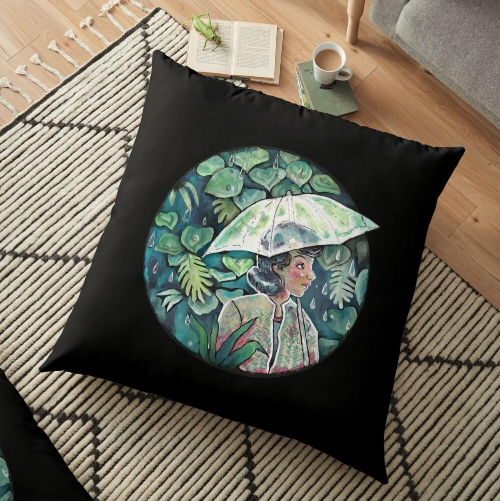 Umbrella girl Floor Pillow