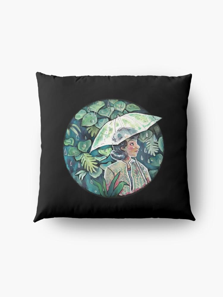 Alternate view of Umbrella girl Floor Pillow