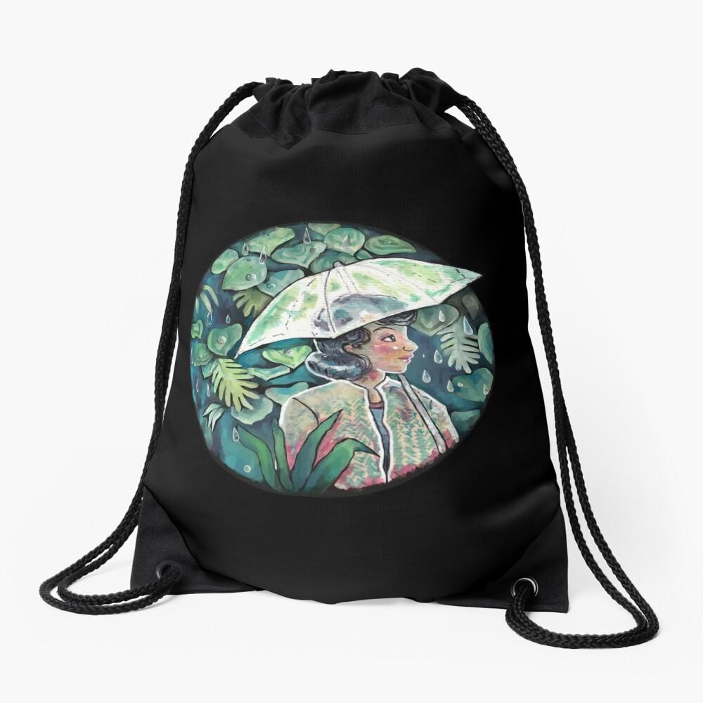 Umbrella girl Drawstring Bag