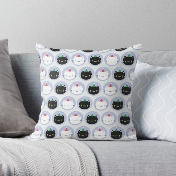 Cute Cats in Party Hats Throw Pillow