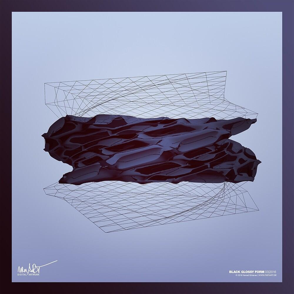 BLACK GLOSSY FORM 03|2016 (Abstract 3D-Render Digital Art) von nenART-Official