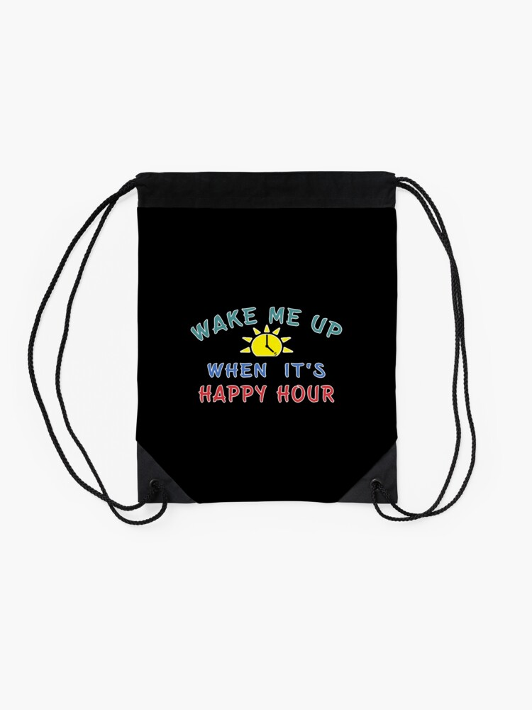 Alternate view of Happy Hour funny Alcohol Craft Beer drinkers gift. Drawstring Bag