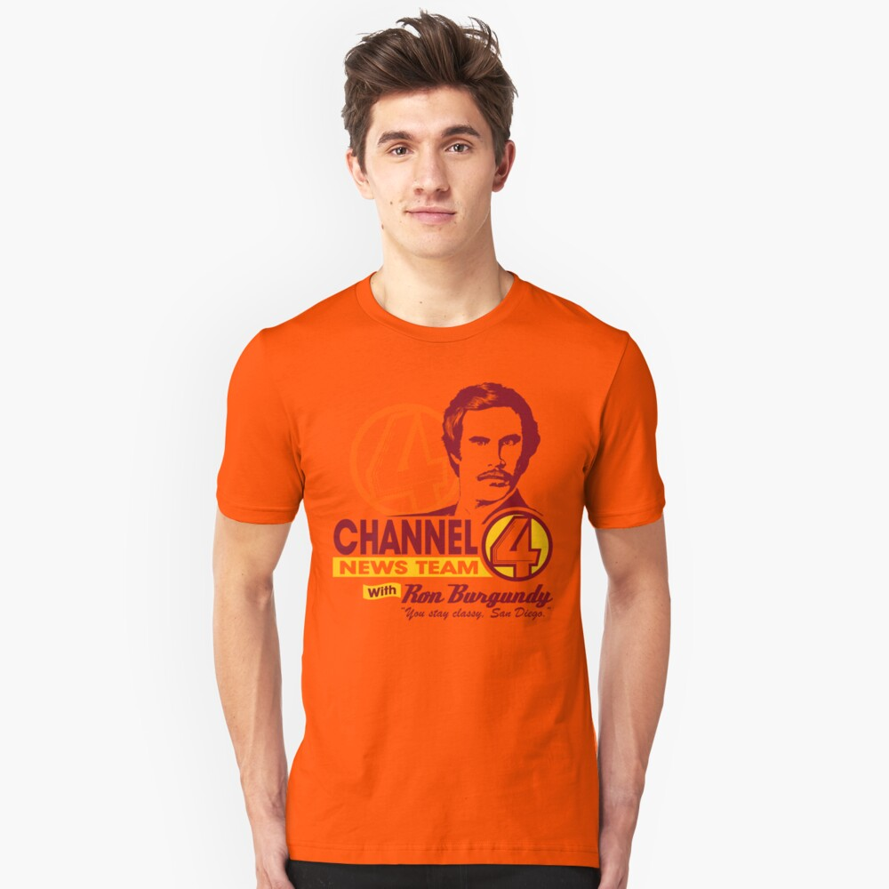 Channel 4 News Team with Ron Burgundy! Unisex T-Shirt Front