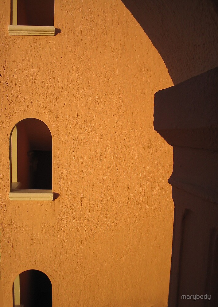 Orange Building with Arch by marybedy